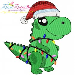 Christmas Dinosaur-1 Embroidery Design Pattern- Category- Christmas Designs- 1