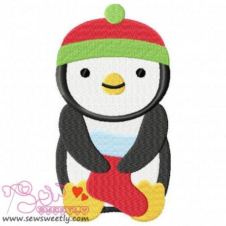 Cute Christmas Penguin-7 Embroidery Design