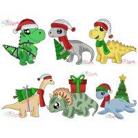 Christmas Dinosaurs Embroidery Design Bundle