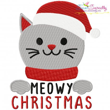 Meowy Christmas Cat Embroidery Design Pattern- Category- Christmas Designs- 1
