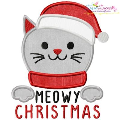 Meowy Christmas Cat Applique Design
