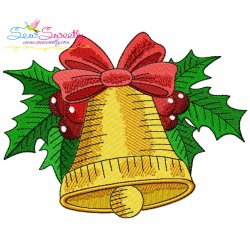 Christmas Bell And Holly Leaves Embroidery Design