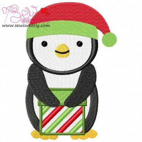 Cute Christmas Penguin-8 Embroidery Design