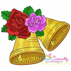 Christmas Bells And Roses Embroidery Design Pattern- Category- Christmas Designs- 1