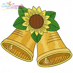 Christmas Bells And Sunflower Embroidery Design