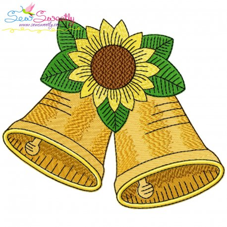 Christmas Bells And Sunflower Embroidery Design Pattern- Category- Christmas Designs- 1