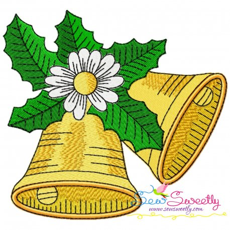 Christmas Bells And Daisy Embroidery Design Pattern- Category- Christmas Designs- 1