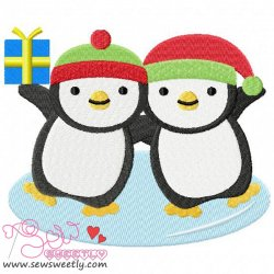 Christmas Penguins-1 Embroidery Design