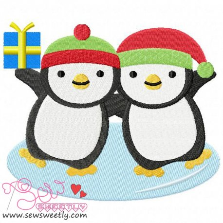 Cute Christmas Penguins-1 Embroidery Design