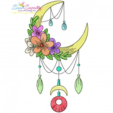 Dream Catcher Flowers And Moon-10 Embroidery Design