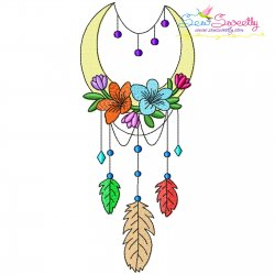 Dream Catcher Flowers And Moon-9 Embroidery Design