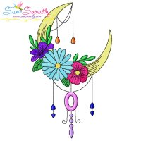Dream Catcher Flowers And Moon-8 Embroidery Design