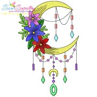 Dream Catcher Flowers And Moon-6 Embroidery Design