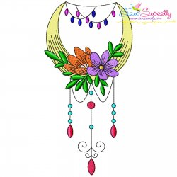 Dream Catcher Flowers And Moon-5 Embroidery Design