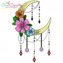 Dream Catcher Flowers And Moon-7 Embroidery Design
