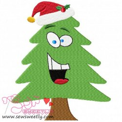 Christmas Tree With Santa Hat Embroidery Design