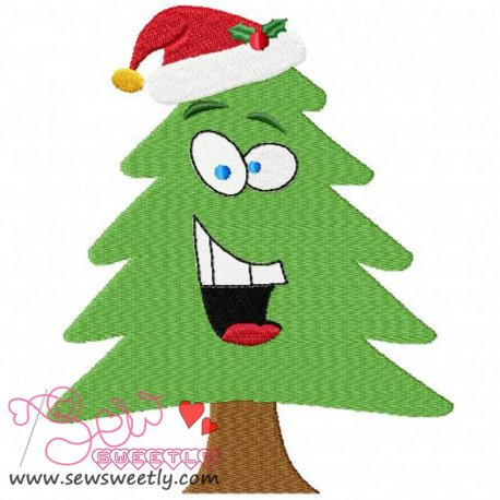 Cute Christmas Tree With Santa Hat Embroidery Design