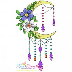 Dream Catcher Flowers And Moon-4 Embroidery Design