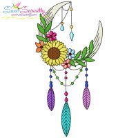 Dream Catcher Flowers And Moon-3 Embroidery Design