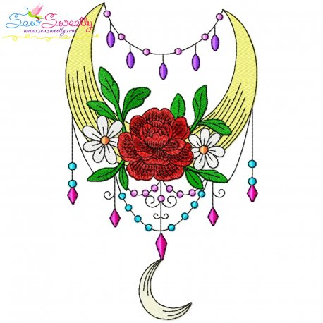 Dream Catcher Flowers And Moon-2 Embroidery Design