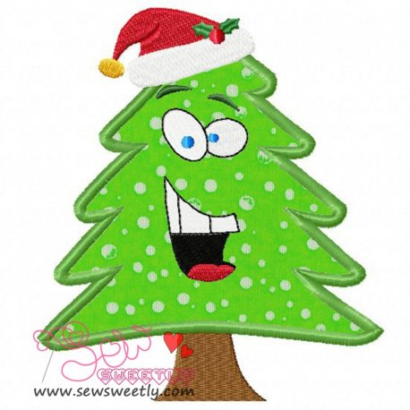 Cute Christmas Tree With Santa Hat Applique Design