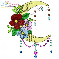 Dream Catcher Flowers And Moon-1 Embroidery Design