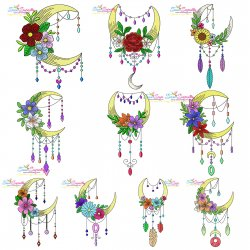 Dream Catcher Flowers And Moon Embroidery Design Bundle- Category- Floral Designs- 1