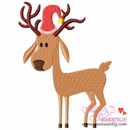 Cute Reindeer-1 Embroidery Design