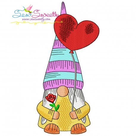 Valentine Gnome-5 Embroidery Design