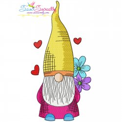 Valentine Gnome-2 Embroidery Design