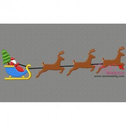 Santa Sleigh Christmas Tree Embroidery Design