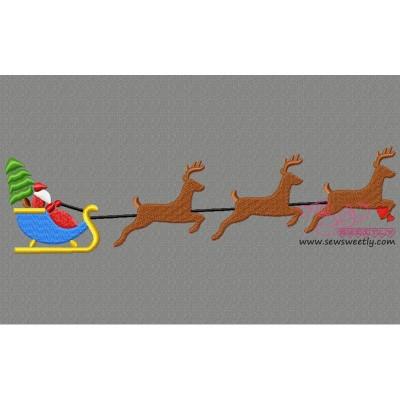 Santa Sleigh Christmas Tree Embroidery Design