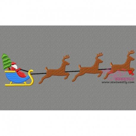 Santa Sleigh Christmas Tree Embroidery Design Pattern- Category- Christmas Designs- 1