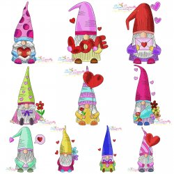 Valentine Gnomes Embroidery Design Bundle