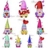 Valentine Gnomes Embroidery Design Bundle