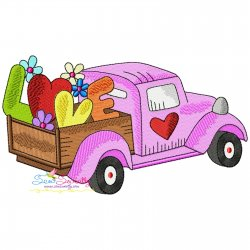 Valentine Truck Love Embroidery Design