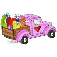Valentine Truck Love Embroidery Design