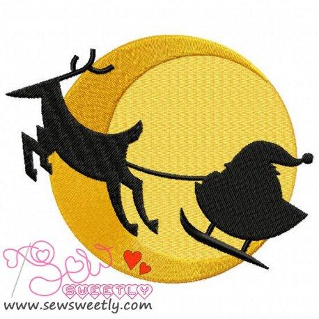 Santa Sleigh Silhouette Embroidery Design