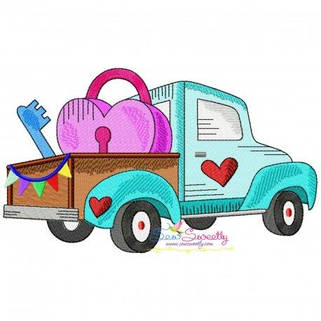 Valentine Truck Heart Lock Key Embroidery Design