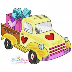 Valentine Truck Gift Embroidery Design Pattern- Category- Valentine's Day Designs- 1
