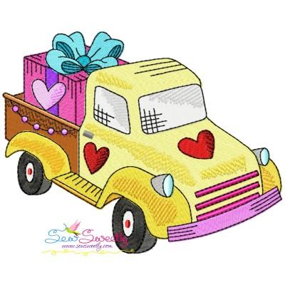 Valentine Truck Gift Embroidery Design