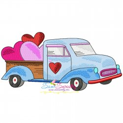 Valentine Truck Hearts Embroidery Design