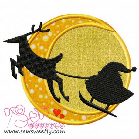 Santa Sleigh Silhouette Applique Design For Christmas Embroidery Projects