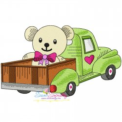 Valentine Truck Teddy Bear Embroidery Design