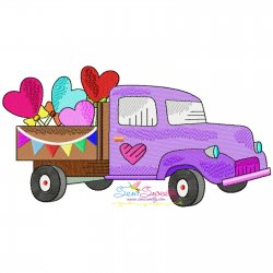 Valentine Truck Heart Lollipop Candy Embroidery Design