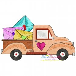 Valentine Truck Love Letters Embroidery Design Pattern- Category- Valentine's Day Designs- 1