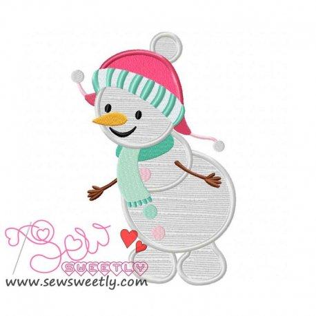 Cute Snowman-1 Applique Design