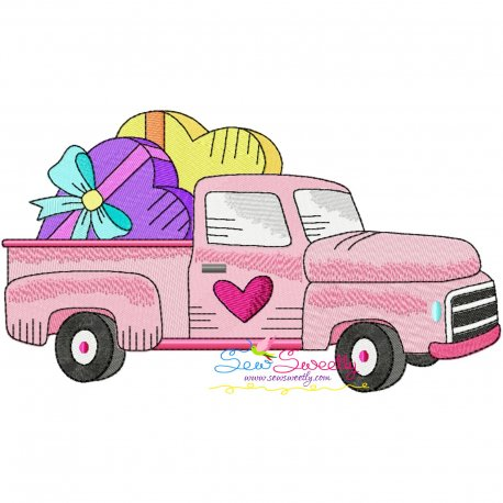 Valentine Truck Heart Gifts Embroidery Design Pattern- Category- Valentine's Day Designs- 1
