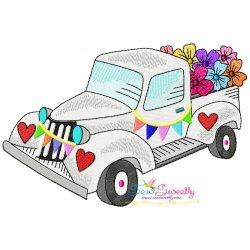 Valentine Truck Flowers Embroidery Design