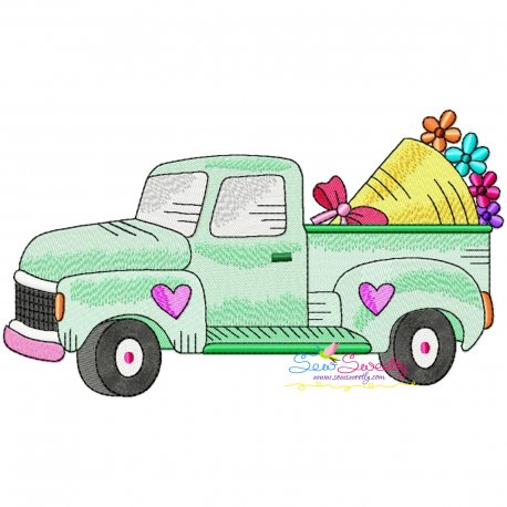 Valentine Truck Flower Bouquet Embroidery Design Pattern- Category- Valentine's Day Designs- 1
